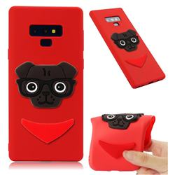 Glasses Dog Soft 3D Silicone Case for Samsung Galaxy Note9 - Red