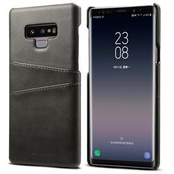 Suteni Retro Classic Card Slots Calf Leather Coated Back Cover for Samsung Galaxy Note9 - Black