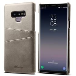 Suteni Retro Classic Card Slots Calf Leather Coated Back Cover for Samsung Galaxy Note9 - Gray
