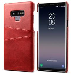 Suteni Retro Classic Card Slots Calf Leather Coated Back Cover for Samsung Galaxy Note9 - Red