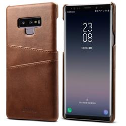 Suteni Retro Classic Card Slots Calf Leather Coated Back Cover for Samsung Galaxy Note9 - Brown