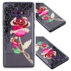 Rose Lace Diamond Flower Soft TPU Back Cover for Samsung Galaxy Note9
