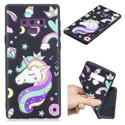 Candy Unicorn 3D Embossed Relief Black TPU Cell Phone Back Cover for Samsung Galaxy Note9