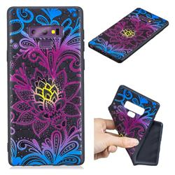 Colorful Lace 3D Embossed Relief Black TPU Cell Phone Back Cover for Samsung Galaxy Note9