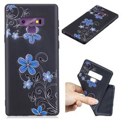 Little Blue Flowers 3D Embossed Relief Black TPU Cell Phone Back Cover for Samsung Galaxy Note9