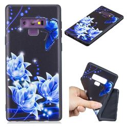 Blue Butterfly 3D Embossed Relief Black TPU Cell Phone Back Cover for Samsung Galaxy Note9