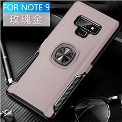 Knight Armor Anti Drop PC + Silicone Invisible Ring Holder Phone Cover for Samsung Galaxy Note9 - Rose Gold