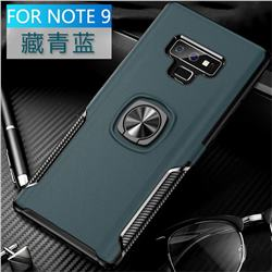 Knight Armor Anti Drop PC + Silicone Invisible Ring Holder Phone Cover for Samsung Galaxy Note9 - Navy