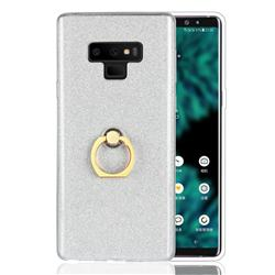 Luxury Soft TPU Glitter Back Ring Cover with 360 Rotate Finger Holder Buckle for Samsung Galaxy Note9 - White