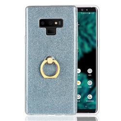 Luxury Soft TPU Glitter Back Ring Cover with 360 Rotate Finger Holder Buckle for Samsung Galaxy Note9 - Blue