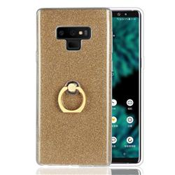 Luxury Soft TPU Glitter Back Ring Cover with 360 Rotate Finger Holder Buckle for Samsung Galaxy Note9 - Golden