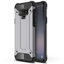 King Kong Armor Premium Shockproof Dual Layer Rugged Hard Cover for Samsung Galaxy Note9 - Silver Grey
