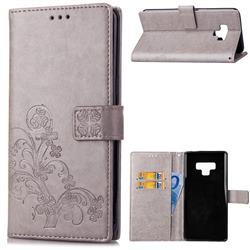 Embossing Imprint Four-Leaf Clover Leather Wallet Case for Samsung Galaxy Note9 - Grey