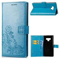 Embossing Imprint Four-Leaf Clover Leather Wallet Case for Samsung Galaxy Note9 - Blue