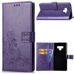 Embossing Imprint Four-Leaf Clover Leather Wallet Case for Samsung Galaxy Note9 - Purple