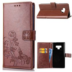 Embossing Imprint Four-Leaf Clover Leather Wallet Case for Samsung Galaxy Note9 - Brown