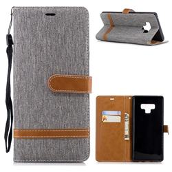 Jeans Cowboy Denim Leather Wallet Case for Samsung Galaxy Note9 - Gray