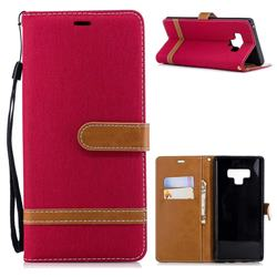 Jeans Cowboy Denim Leather Wallet Case for Samsung Galaxy Note9 - Red