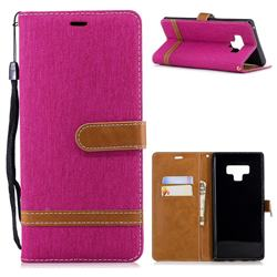 Jeans Cowboy Denim Leather Wallet Case for Samsung Galaxy Note9 - Rose