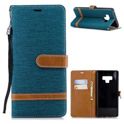 Jeans Cowboy Denim Leather Wallet Case for Samsung Galaxy Note9 - Green