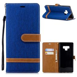 Jeans Cowboy Denim Leather Wallet Case for Samsung Galaxy Note9 - Sapphire