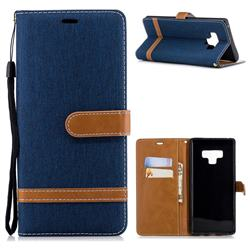 Jeans Cowboy Denim Leather Wallet Case for Samsung Galaxy Note9 - Dark Blue