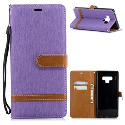 Jeans Cowboy Denim Leather Wallet Case for Samsung Galaxy Note9 - Purple