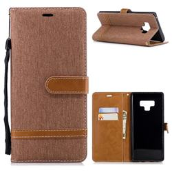 Jeans Cowboy Denim Leather Wallet Case for Samsung Galaxy Note9 - Brown