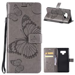Embossing 3D Butterfly Leather Wallet Case for Samsung Galaxy Note9 - Gray