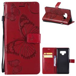 Embossing 3D Butterfly Leather Wallet Case for Samsung Galaxy Note9 - Red