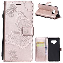Embossing 3D Butterfly Leather Wallet Case for Samsung Galaxy Note9 - Rose Gold