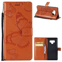 Embossing 3D Butterfly Leather Wallet Case for Samsung Galaxy Note9 - Orange