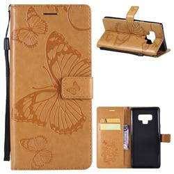 Embossing 3D Butterfly Leather Wallet Case for Samsung Galaxy Note9 - Yellow