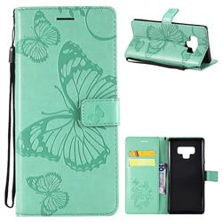 Embossing 3D Butterfly Leather Wallet Case for Samsung Galaxy Note9 - Green