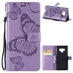 Embossing 3D Butterfly Leather Wallet Case for Samsung Galaxy Note9 - Purple