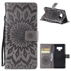 Embossing Sunflower Leather Wallet Case for Samsung Galaxy Note9 - Gray