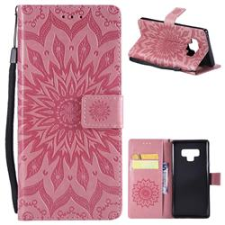 Embossing Sunflower Leather Wallet Case for Samsung Galaxy Note9 - Pink