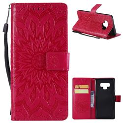 Embossing Sunflower Leather Wallet Case for Samsung Galaxy Note9 - Red
