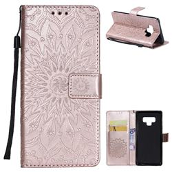 Embossing Sunflower Leather Wallet Case for Samsung Galaxy Note9 - Rose Gold
