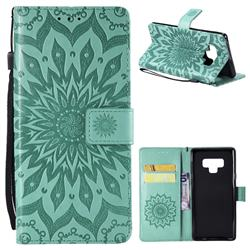 Embossing Sunflower Leather Wallet Case for Samsung Galaxy Note9 - Green