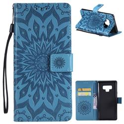 Embossing Sunflower Leather Wallet Case for Samsung Galaxy Note9 - Blue