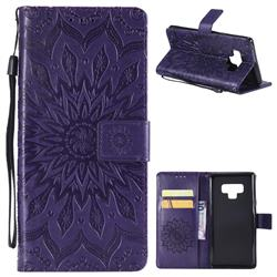 Embossing Sunflower Leather Wallet Case for Samsung Galaxy Note9 - Purple