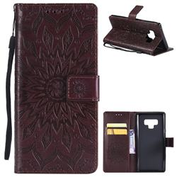 Embossing Sunflower Leather Wallet Case for Samsung Galaxy Note9 - Brown