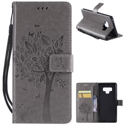 Embossing Butterfly Tree Leather Wallet Case for Samsung Galaxy Note9 - Grey