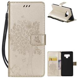 Embossing Butterfly Tree Leather Wallet Case for Samsung Galaxy Note9 - Champagne