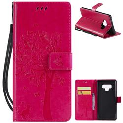Embossing Butterfly Tree Leather Wallet Case for Samsung Galaxy Note9 - Rose