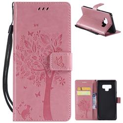 Embossing Butterfly Tree Leather Wallet Case for Samsung Galaxy Note9 - Pink