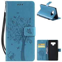 Embossing Butterfly Tree Leather Wallet Case for Samsung Galaxy Note9 - Blue