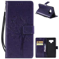 Embossing Butterfly Tree Leather Wallet Case for Samsung Galaxy Note9 - Purple