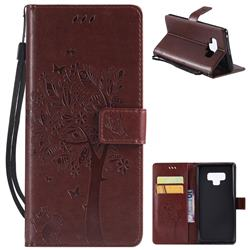 Embossing Butterfly Tree Leather Wallet Case for Samsung Galaxy Note9 - Brown